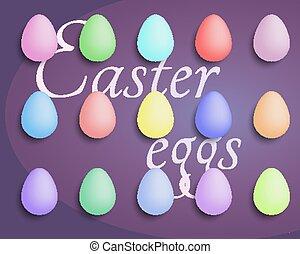 saisonnier, spring., coloré, hunt., oeufs, gift., fetes, celebration.egg, april., sunday., paques, set.