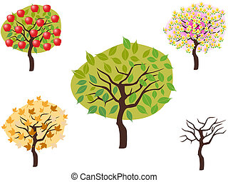 saisonnier, style, dessin animé, arbres