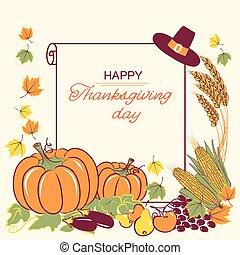 saisonnier, texte, décoration thanksgiving, papier, fond, rouleau, heureux