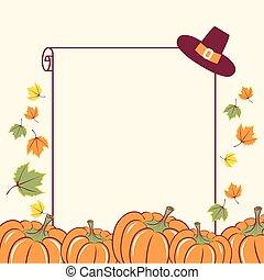 saisonnier, texte, décoration thanksgiving, potirons, papier, fond