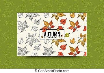 saisonnier, toile, feuille, feuilles, pattern., seamless, automne, vecteur, gabarit, automne, bannière, texture.