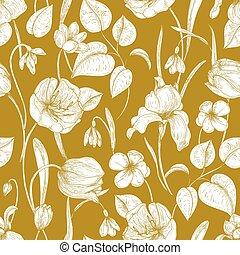 saisonnier, wallpaper., fleurs, naturel, jardin, printemps, fleurir, lignes, seamless, jaune, main, arrière-plan., vecteur, illustration, modèle, dessiné, fleurir, plants., botanique, contour, toile de fond