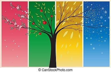 saisons, été, hiver, printemps, automne