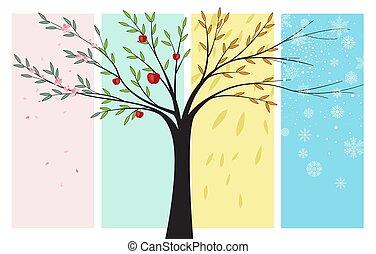 saisons, automne, été, hiver, printemps