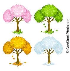 saisons, différent, ensemble, arbres