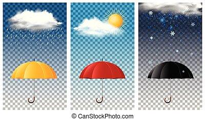 saisons, différent, parapluie, trois, fond