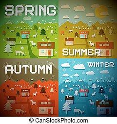 saisons, hiver, été, -, quatre, printemps, automne