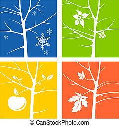 saisons, illustration, quatre