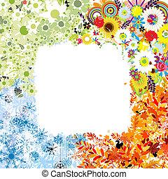 saisons, printemps, winter., -, automne, été, quatre, cadre