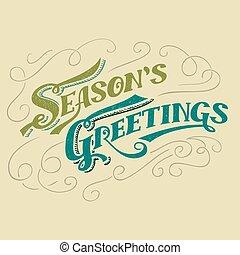 saisons, salutations, typographique, titre