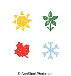 saisons, year., quatre