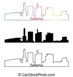 Saitama skyline linear style with rainbow.eps