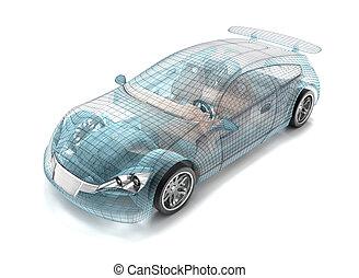 saját, autó, drót, model., az enyém, tervezés, design.