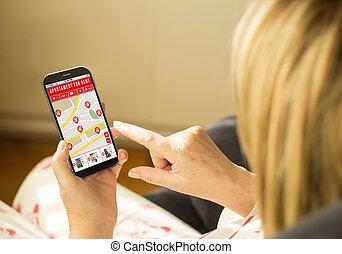 saját keres, nő, technológia, smartphone