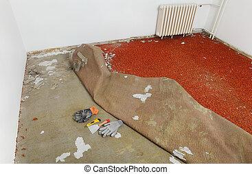 saját renovation, eltávolít, szőnyeg
