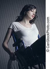 sajnálatos woman, ülés, képben látható, tolószék