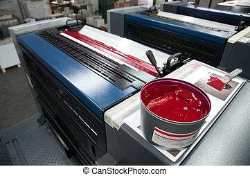 sajtó, nyomtatás, -, ellensúlyoz, gép
