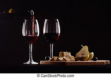 sajt, forma, körte, pohár, szőlő, palack, bor