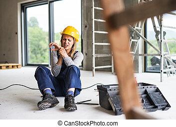 sajt., konstruktion, kvinna, arbetare, olycka