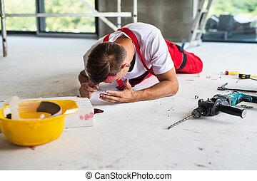 sajt., konstruktion, olycka, arbetare, man