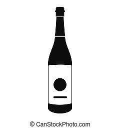 saké, icône, style, bouteille, simple