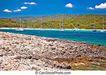 Sakarun beach yachting bay view on Dugi Otok island, Dalmatia, Croatia