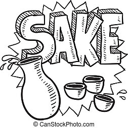 Doodle style Japanese sake rice wine illustration with decanter and cups, along with text message. Vector format.