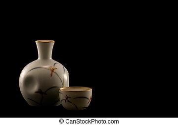 Sake Bottle and Cups on Black - japanese porcelain sake ...