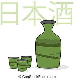 Sake - Cartoon illustration showing a small sake bottle and ...