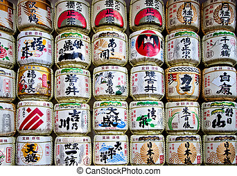 sake casks - Japanese sake rice wine barrels with decorative...