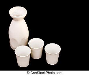 Sake jug and cups