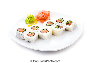 Image of sake maki sushi rolls served with pickled ginger and wasabi