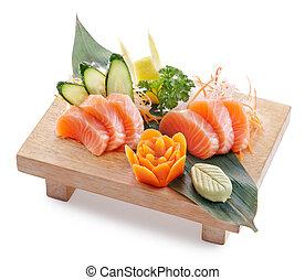 sake sashimi - delicious sake (salmon) sahimi isolated on...