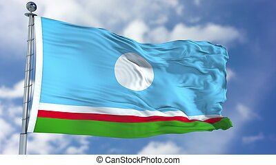 Sakha Republic Flag in a Blue Sky. Use this clip