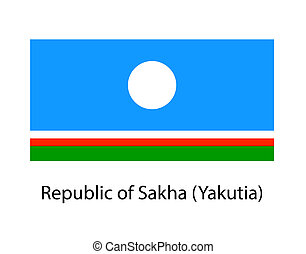 Sakha Republic flag on the flagpole. Official colors and proportion correctly. waving of Sakha Republic flag