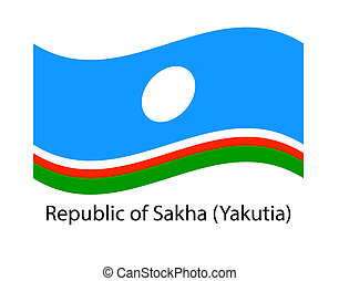 Sakha Republic flag on the flagpole. Official colors and proportion correctly. waving of Sakha Republic flag. Flag in the wind