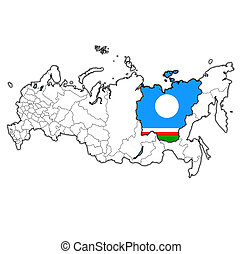 emblem of sakha republic on map with administrative divisions and borders of russia