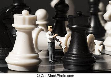 sakkfigura, és, sakkjáték, király, bukás, képben látható, játék, board., játék sakkjáték, noha, kisméretű, baba, makro, photo.