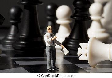 sakkfigura, és, sakkjáték, király, képben látható, játék, board., játék sakkjáték, noha, kisméretű, baba, makro, photo.