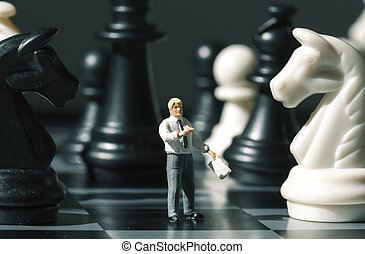 sakkfigura, és, sakkjáték, számolás, képben látható, játék, board., játék sakkjáték, noha, kisméretű, baba, makro, photo.