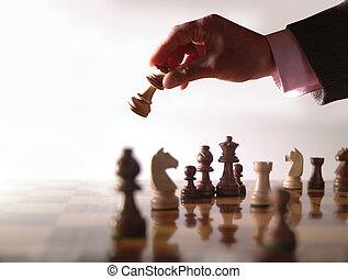 sakkjáték, és, kéz
