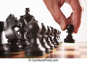sakkjáték, fekete, játékos, először, lépés