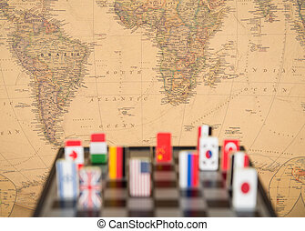 sakktábla, noha, zászlók, közül, országok
