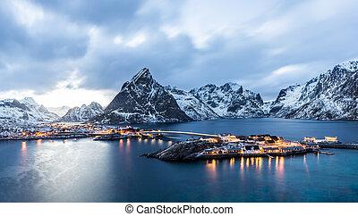 Sakrisoy, Lofoten, Norway at blue hour
