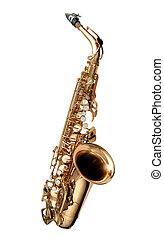 saksofon, jazz, instrument, odizolowany