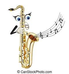 saksofon, rysunek