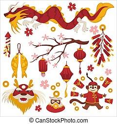 sakura, 年, 中国のドラゴン, シンボル, ランタン, サル, 新しい