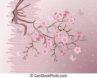 sakura, blomstre, illustration, vektor