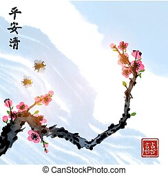 Sakura blossom and two little bees in blue sky. Traditional oriental ink painting sumi-e, u-sin, go-hua. Contains hieroglyphs - peace, tranquility, clarity, double luck