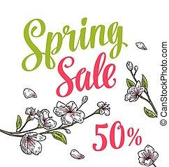 sakura, blossom., ciliegia, ramo, con, fiori, bud., primavera, vendita, lettering.